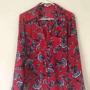 Red Blue Floral Express Portofino Shirt Size L